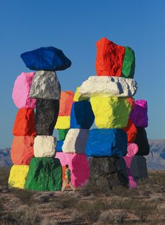 Seven 30-Foot-Tall Dayglow Totems Placed in the Nevada Desert by Ugo Rondinone