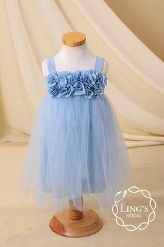 Perinwinkle Blue Flower Girl Dress-Sky Blue Toddler by LingsBridal