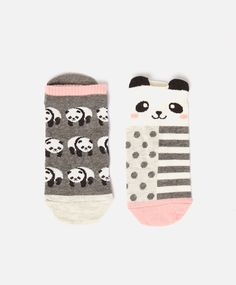 Pack of panda ankle socks - Funny Socks, Cute Socks, My Socks, Pyjamas, Panda Kawaii, Little Sister Birthday, Panda Socks, Bodies, Sock Animals