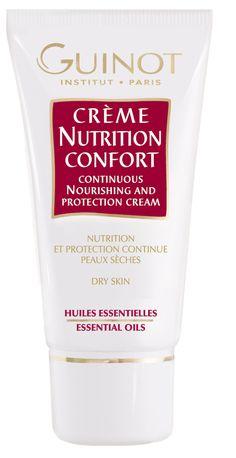 CRÈME NUTRITION CONFORT (50ml)   Aufbauende Nährcreme für sehr trockene Haut. Die ätherischen Öle dieser Creme ziehen sofort ein und bauen die Haut wieder von innen auf. Sie stellen den Säureschutzmantel der Haut wieder her und verleihen ihr ein angenehmes Gefühl. http://www.best-kosmetik.de/marken/guinot/trockene-haut/Cr-me-Nutrition-Confort.html