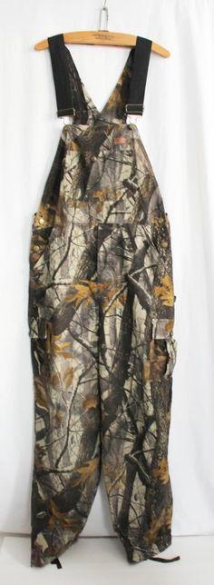 Realtree Camo Bibs Medium WOOLRICH Cotton Flannel Hardwood Overalls Hunting #Woolrich