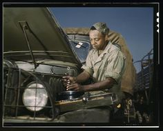 An African-American mechanic working in the motor maintenance section, fixes a car in Fort Knox, Kentucky in June 1942. Taken by FSA photographer Alfred T. Palmer. Learn more about African American History and Photography, visit Digital Diaspora Family Reunion DDFR www.DDFR.tv. The whole collection can be found in the Library of Congress. www.loc.gov/pictures/collection/fsac/  Upload and share your own family photographs and stories at ddfrsocialnet.ning.com !