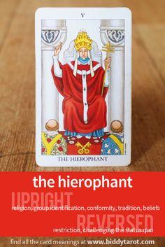 "Major Arcana Card ""The Hierophant"" #tarotcardmeaning learn more at http://www.biddytarot.com/tarot-card-meanings/major-arcana/hierophant/"