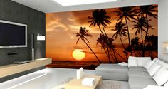 Missing the sun? Bring some tropical light in with our sunset wall mural - a great self-adhesive alternative to wall paper.