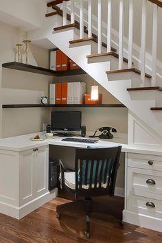 Dark White Living Room Furniture – Home Office Design İdeas Home Office Design, Home Office Decor, House Design, Home Decor, Office Ideas, Bedroom Office, Staircase Storage, Staircase Design, Stairs With Storage