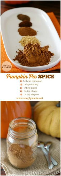 Homemade Pumpkin Pie Spice Homemade Pumpkin Pie Spice - Why buy when you can make your own? This homemade pumpkin pie spice recipe is frugal, easy and perfect to flavor your favorite pumpkin desserts! Homemade Pumpkin Pie Spice Recipe, Homemade Spices, Homemade Seasonings, Pumpkin Recipes, Fall Recipes, Pumpkin Spice, Rib Recipes, Recipe Spice, Homemade Recipe