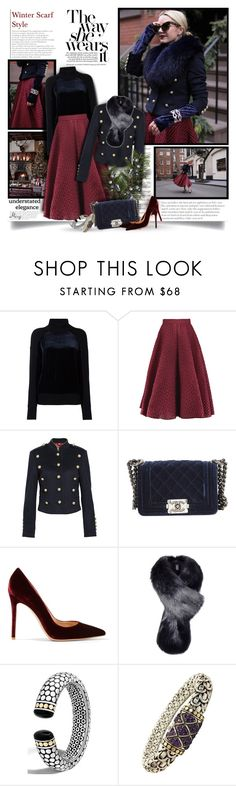 """Winter Scarf"" by thewondersoffashion ❤ liked on Polyvore featuring DKNY, Roksanda, Burberry, Chanel, Gianvito Rossi, Helen Moore and John Hardy"