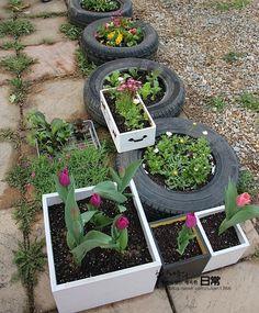 정원꾸미기,꽃심기,폐타이어,재활용,리폼,리사이클링,업사이클링,꽃심기,정원가꾸기