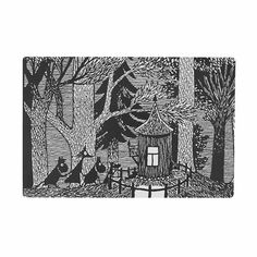 """Cutting board out of melamine-coated birch veneer and decorated with a black and white image from Tove Jansson's Moomin book """"Moominsummer Madness"""". Size 30 x 20 cm Moomin Books, Moomin Shop, Kids Book Series, Tove Jansson, Cottage In The Woods, Wood Cutting Boards, Textile Patterns, Textiles, Scandinavian"""