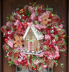 32 Deco Mesh WHIMSICAL GINGERBREAD HOUSE Christmas by decoglitz, $225.00