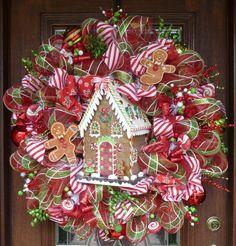 "32"" Deco Mesh WHIMSICAL GINGERBREAD HOUSE Christmas Wreath"