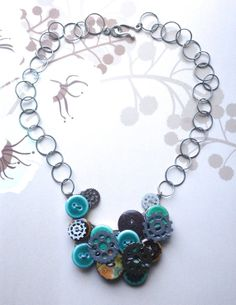Steamy Buttons & Gears  Steampunk-Inspired Necklace by infoerica, $24.00