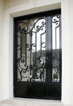 Iron Front Door, Steel Gate, Wrought Iron, Doors, Homes, Iron Gates, Steel Doors, Blacksmithing, Doorway