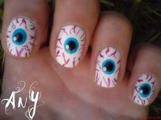 Best Scary Nail Art Designs Ideas Pictures 2013 2014 11 Best & Scary Halloween N Cute Halloween Nails, Halloween Eyeballs, Halloween Nail Designs, Scary Halloween, Halloween Coffin, Women Halloween, Halloween Pictures, Fingernail Designs, Cute Nail Designs