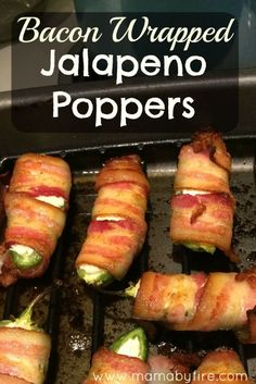 Bacon Wrapped Jalapeno Poppers - Mama By Fire Whether you're going to a football party, picnic, or any type of party, these bacon wrapped jalapeno poppers are sure to please the spice lovers there! Bacon Wrapped Jalepeno Poppers, Jalapeno Popper Recipes, Bacon Wrapped Stuffed Jalapenos, Bacon Wrapped Appetizers, East Appetizers, Best Jalapeno Poppers, Pepper Poppers, Cream Cheese Stuffed Jalapenos, Stuffed Jalapeno Peppers