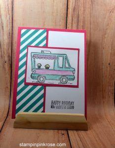 Stampin' Up! CAS Birthday card made with Tasty Trucks stamp set and designed by Demo Pamela Sadler. See more cards at stampinkrose.com #stampinkpinkrose #etsycardstrulyheart
