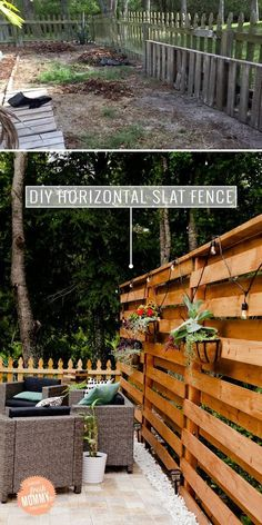 DIY Horizontal Slat Fence and Backyard Makeover. Create a stunning backdrop for your yard and outdoor living space with these DIY privacy fence panels. - DIY Horizontal Slat Fence featured by popular Patio Fence, Diy Fence, Backyard Fences, Backyard Landscaping, Diy Patio, Landscaping Ideas, Farm Fence, Patio Ideas, Cheap Fence Ideas