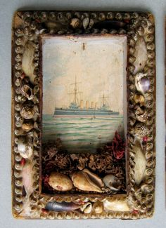 Despite the vessel being of the wrong era for Villette, this frame and its tiny, tucked shells reminds me very much of Lucy Snowe's fitfully recurring imagery of the sea. Seashell Art, Seashell Crafts, Shell Frame, Cottages By The Sea, Beach House Decor, Coastal Decor, Altered Art, Sea Shells, Folk Art