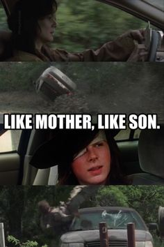 Like mother, like son. Car crash in zombie apocalypse (the walking dead)