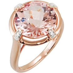 Rose gold ring with round morganite and diamond.