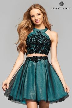 Peppermint and black structured mesh two-piece cocktail dress with lace applique…