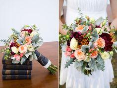 Gorgeous bridal bouquet. Love when brides embrace color. Burgundy, peach, dusty miller.
