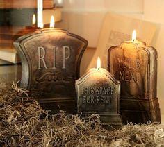 décoration Halloween pas chère: bougies-pierres tombales