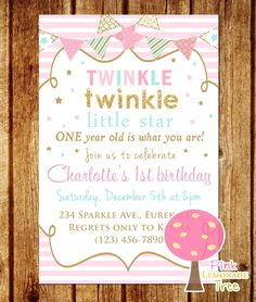 Twinkle Twinkle Little Star Birthday Invitation, Pink, Gold and Aqua Birthday Party Invitation, Gold Glitter Birthday Invitation by PinkLemonadeTree on Etsy https://www.etsy.com/listing/250615366/twinkle-twinkle-little-star-birthday