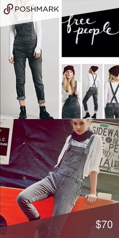Free People Gray Wash Overalls *Top Rated* NWOT Free People Overalls Free People Jeans Overalls