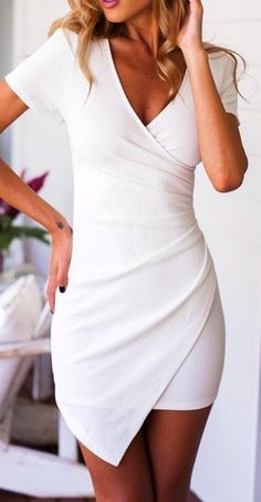 #summer #outfits / white wrap dress