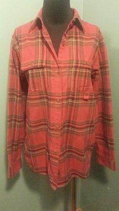 Lauren Ralph Lauren Red Green Cotton Flannel Long Sleeve Shirt Size M $23 Free Shipping!