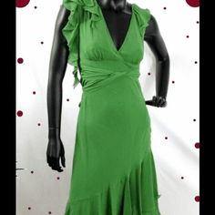 Bcbg Green Silk Dress Size 4