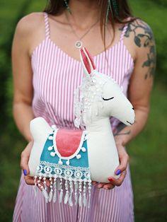 Llama Pillow, Felt Pillow, Llama Llama, Alpaca Toy, Alpaca My Bags, Rainbow Bedding, Llama Decor, Pineapple Gifts, Llama Gifts