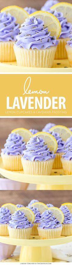Lemon Lavender Cupcakes - easy lemon cupcakes with a light lavender frosting | by Lindsay Conchar for TheCakeBlog.com