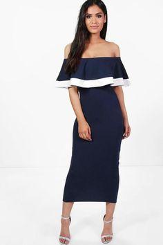 Bea Tipping Detail Frill Bardot Midi Dress