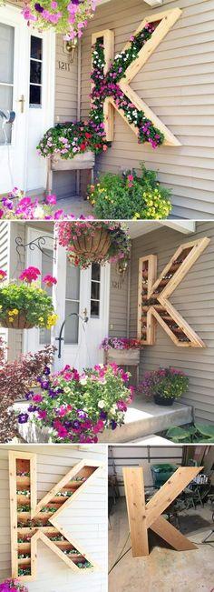DIY monogram planter. Click on image to see more home decor DIY crafts and ideas. #homedecorideas