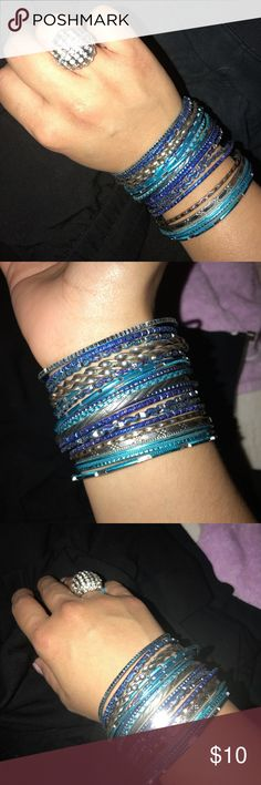 Assortment of Blue Bangles A set of 22 bangles - shades of blue and silver Jewelry Bracelets