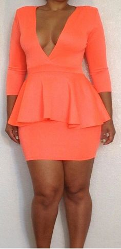 Plus Size Orange Peplum Bodycon Dress outfit  ootd