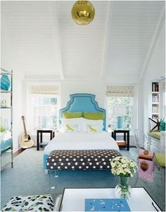 turquoise, black, white and green bedroom