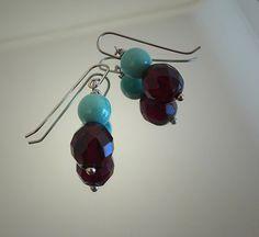 Earrings turquoise blue Swarovski pearls  ruby red door deBATjes