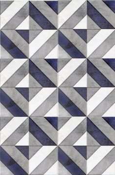 Go bold with our favorite geometric patterned tile, Insight, featured on carrara marble. Use this modern design as bathroom floor tile or as a kitchen backsplash. The dark navy blue shade in this luxury tile will capture the attention of all your guests.: