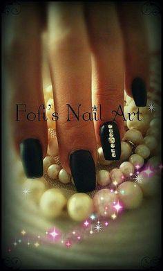 Nails   Matte nails   Black nails #nails #mattenails #blacknails #swarovski