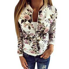 ❤️Manteau Veste Blouson Femme, Amlaiworld Manteau de Printemps Femmes Fleur Imprimé Zippée Jacket Manteau de Baseball Cover Up Cardigan…