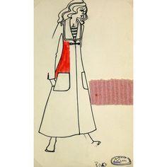 Corine Marie Fashion Sketch, C. 1980 #huntersalley. French fashion sketch from the Paris fashion house Création Corine Marie, circa 1980. Includes an original fabric swatch.