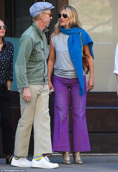 Looking good: Sporting a pair of generously cut lilac slacks, Kate, caught the eye whi. Moss Fashion, Kate Moss Style, Queen Kate, St Style, James Brown, Stylish Girl, Daily Fashion, Style Icons, Supermodels