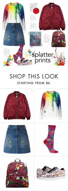 """""""Street Style Splatter Prints"""" by ellie366 ❤ liked on Polyvore featuring Stussy, Alice + Olivia, HOT SOX, Dr. Martens, Vans, GALA, StreetStyle, bomberjacket, sneakers and denimskirt"""