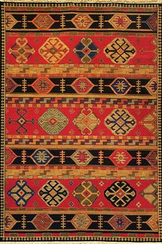 Shirvan (red - Kazak design 2) by A Rug For All Reasons | This collection features unique tribal designs that are consistent with the original Caucasian carpets from which they're derived. This rug features vibrant colors and subtle abrash (variations) that please the contemporary eye while honoring tradition. Handwoven in India of 100% New Zealand wool.