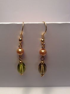 Handmade green earrings with gold pearls by Shaylasjewelrybox on Etsy