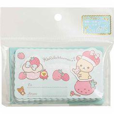 cute turquoise Korilakkuma bear mini message cards envelopes by San-X 1