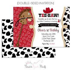 Cowboy Birthday Invitation  Cowboy Birthday Invite  Cowboy